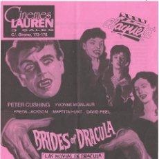 Cine: LAS NOVIAS DE DRACULA PROGRAMA SENCILLO COOPER FILMS HAMMER PETER CUSHING. Lote 114370187