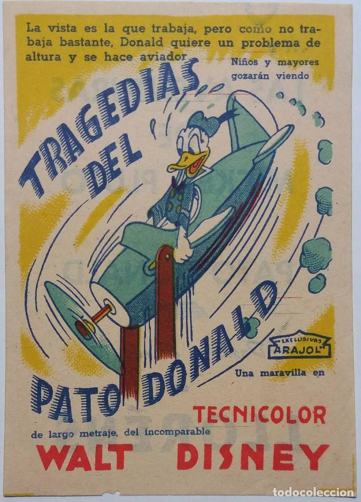PROGRAMA DE MANO DE CINE. ORIGINAL. TRAGEDIAS DEL PATO DONALD. WALT DISNEY (Cine - Folletos de Mano - Infantil)