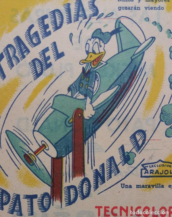 Cine: Programa de mano de cine. Original. Tragedias del Pato Donald. Walt Disney - Foto 3 - 114400283