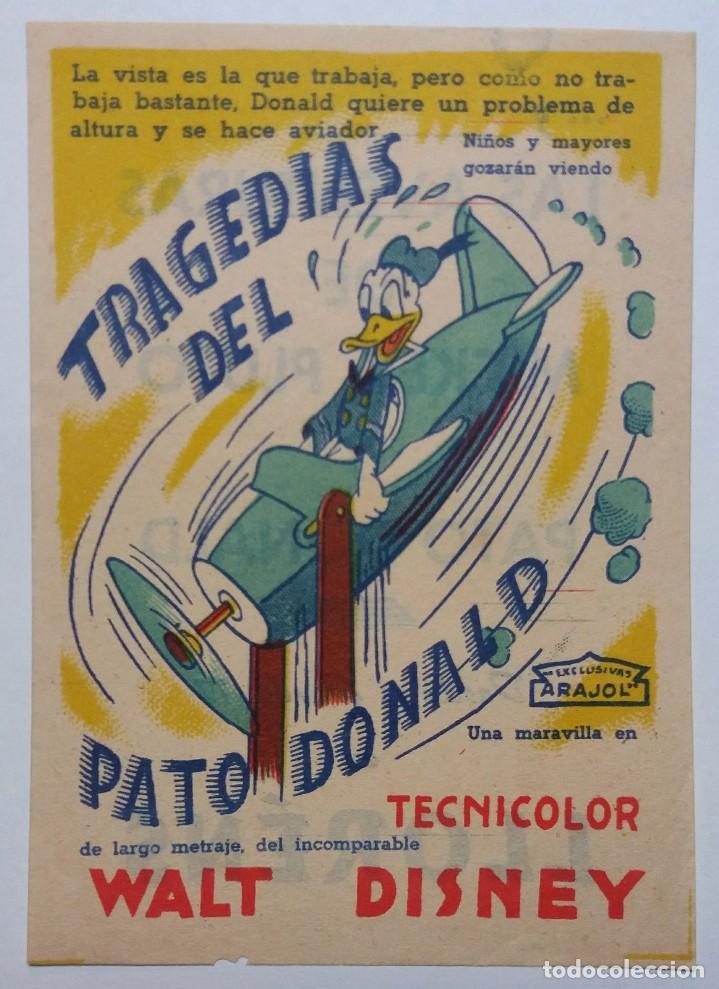 Cine: Programa de mano de cine. Original. Tragedias del Pato Donald. Walt Disney - Foto 5 - 114400283