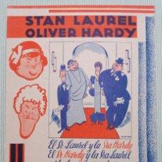 Cine: PROGRAMA DE MANO DE CINE. ORIGINAL. UN LIO DE FAMILIA. STAN LAUREL Y OLIVER HARDY.. Lote 114404159
