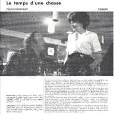 Cine: LE TEMPS D'UNE CHASSE PROGRAMA DOBLE XV SEMANA CINE EN COLOR 1973 FRANCIS MANKIEWICZ GUY L'ECUYER. Lote 114454143