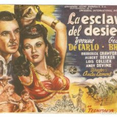 Cine: LA ESCLAVA DEL DESIERTO - YVONNE DE CARLO, GEORGE BRENT - DIRECTOR CHARLES LAMONT - TULLA. Lote 114617351