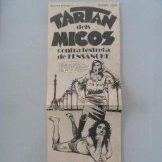 Cine: TARTAN DELS MICOS ENRIC MAJO TERENCI MOIX LA TRINCA FOLLETO DE MANO ANTIGUO DE TEATRO. Lote 114651971