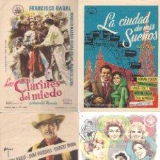 Cine: 4 FOLLETOS DE MANO - CINE COSO ZARAGOZA - LOS CLARINES DEL MIEDO, LOS IMPLACABLES + 2 (1959).. Lote 114743699