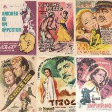 Cine: 6 FOLLETOS DE MANO - CINE PALAFOX ZARAGOZA - EL ÚLTIMO PERRO, AMORES DE UN IMPOSTOR + 4 (1958).. Lote 114749015