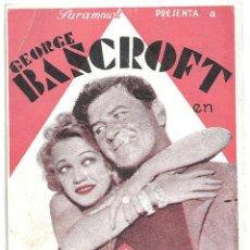 Cine: D EL RETADOR PROGRAMA DOBLE PARAMOUNT GEORGE BANCROFT JOHN WAYNE. Lote 114869167