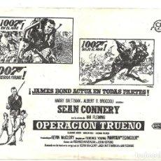 Folhetos de mão de filmes antigos de cinema: D OPERACION TRUENO PROGRAMA SENCILLO LOCAL JAMES BOND 007 SEAN CONNERY. Lote 114879367