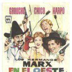 Cine: LOS HERMANOS MARX EN EL OESTE PROGRAMA SENCILLO MAHIER REPO 62. Lote 114909771