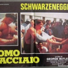 Cine: YI78 PUMPING IRON ARNOLD SCHWARZENEGGER BODY BUILDING SET 4 POSTERS ORIGINAL ITALIANOS 47X68. Lote 114923399