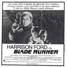 Cine: BLADE RUNNER PROGRAMA CLICHE WARNER HARRISON FORD RIDLEY SCOTT 5. Lote 115008179