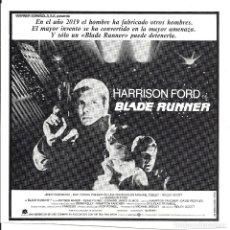 Cine: BLADE RUNNER PROGRAMA CLICHE WARNER HARRISON FORD RIDLEY SCOTT 6. Lote 115008375