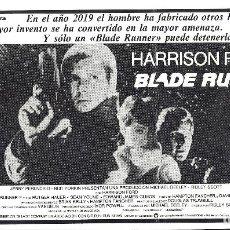 Cine: BLADE RUNNER PROGRAMA CLICHE WARNER HARRISON FORD RIDLEY SCOTT 8. Lote 115009023