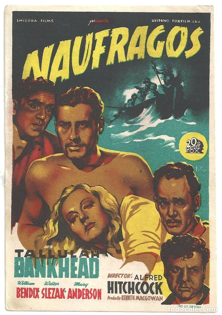 NAUFRAGOS PROGRAMA SENCILLO 20TH CENTURY FOX SOLIGO ALFRED HITCHCOCK TALLULAH BANKHEAD (Cine - Folletos de Mano - Suspense)