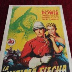 Cine: LA ULTIMA FLECHA, TYRONE POWER, CINEMA RIVERO LA CALZADA, GIJON, OVIEDO. Lote 115217575