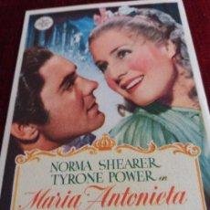 Cine: MARIA ANTONIETA, TYRONE POWER, NORMA SHEARER, JOHN BARRYMORE S.P.. Lote 115218807