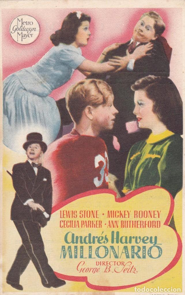 ANDRÉS HARVEY MILLONARIO CON LEWIS STONE, MICKEY ROONEY, CECILIA PARKER,AÑO 1944 CON PUBLICIDAD (Cine - Folletos de Mano - Comedia)