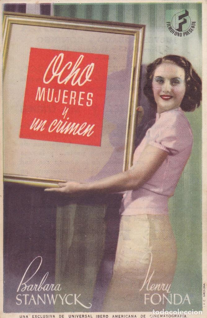 OCHO MUJERES Y UN CRIMEN CON BARBARA STANWYCK, HENRY FONDA AÑO 1944 EN CINEMA LA RAMBLA (Cine - Folletos de Mano - Comedia)