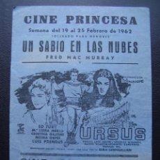 Cine: URSUS, ED FURY, FOLLETO LOCAL DEL CINE PRINCESA DE VALENCIA, 1962. Lote 115312095