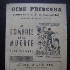 Cine: EL COLOSO DE RODAS, RORY CALHOUN, FOLLETO LOCAL DEL CINE PRINCESA DE VALENCIA, 1962. Lote 115312311