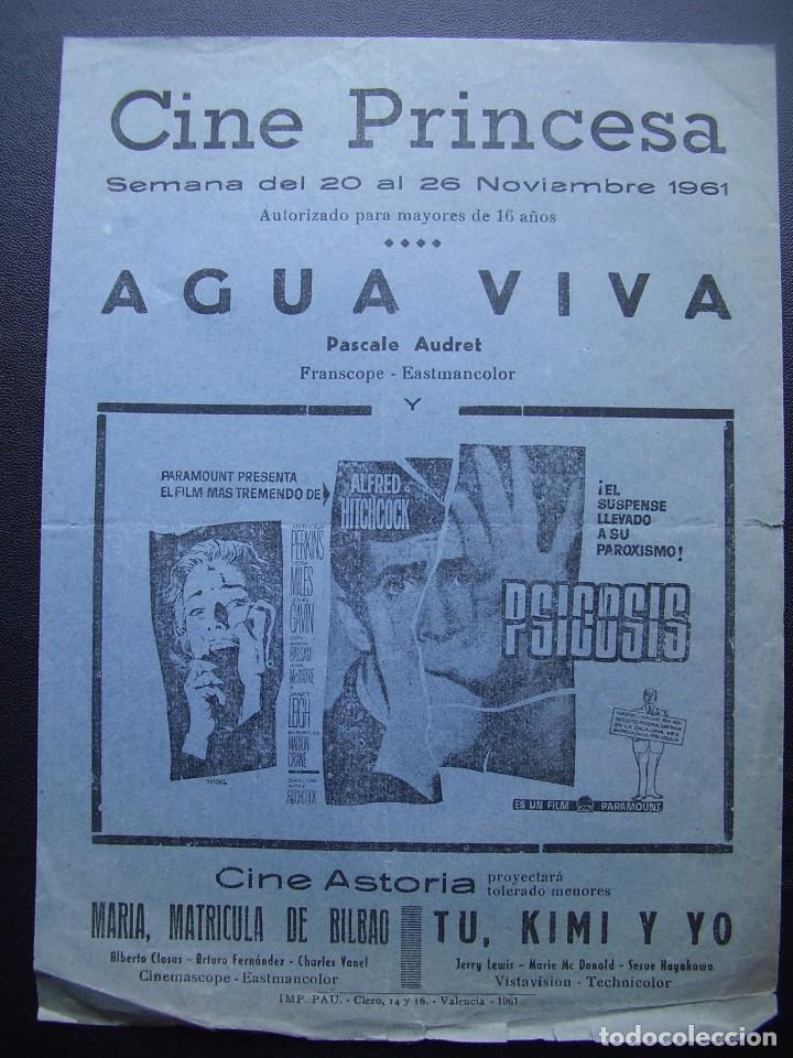 PSICOSIS, ANTHONY PERKINS, ALFRED HITCHCOCK, FOLLETO LOCAL CINE PRINCESA DE VALENCIA, 1961 (Cine - Folletos de Mano - Terror)