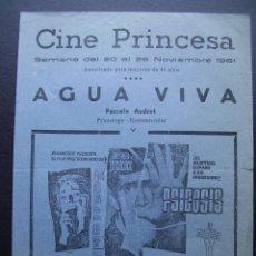 Cine: PSICOSIS, ANTHONY PERKINS, ALFRED HITCHCOCK, FOLLETO LOCAL CINE PRINCESA DE VALENCIA, 1961. Lote 115313575