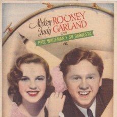Cine: ARMONÍAS DE JUVENTUD CON MICKEY ROONEY, JUDY GARLAND AÑO 1945 CON PUBLICIDAD. Lote 115611123