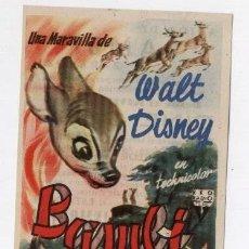Cine: BAMBI (WALT DISNEY) - PUBLICIDAD CINE COSO (ZARAGOZA). 2000-2-52. Lote 115617260