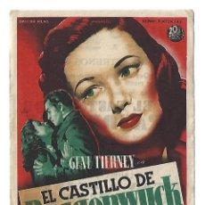 Cine: EL CASTILLO DE DRAGONWYCK - PROGRAMA DE CINE BADALONA C/P 1947. Lote 115746963