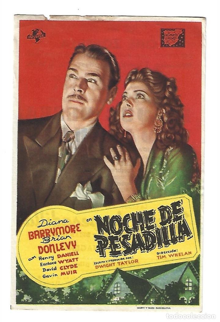NOCHE DE PESADILLA - PROGRAMA DE CINE BADALONA C/P 1947 (Cine - Folletos de Mano - Terror)