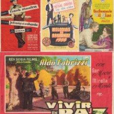 Cine: 4 FOLLETOS DE MANO - CINE COSO ZARAGOZA - UNA AVENTURA DE GIL BLAS, VIVIR EN PAZ + 2 (1956).. Lote 114225399
