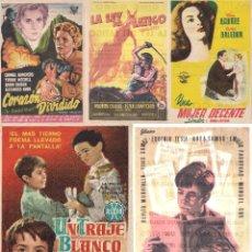 Cine: 5 FOLLETOS DE MANO - CINE COSO ZARAGOZA - CORAZÓN DIVIDIDO, LA LEY DEL LÁTIGO + 3 (1955).. Lote 114221571