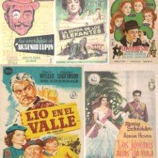 Cine: 5 FOLLETOS DE MANO - CINE PALAFOX ZARAGOZA - LIO EN EL VALLE, LAS PELIRROJAS, + 3 - (1956 - 1958).. Lote 114048459