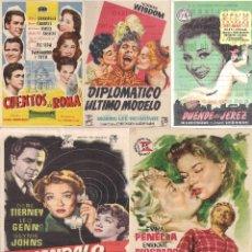 Cine: 5 FOLLETOS DE MANO - COLISEO EQUITATIVA ZARAGOZA - FEDRA, CUENTOS DE ROMA + 3 - (1953, 1956 Y 1957).. Lote 114052491