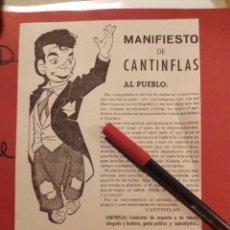 Cine: CANTINFLAS - SI YO FUERA DIPUTADO - MANIFIESTO DE LA PELICULA ESTRENO CAPITOL, METROPOL Y BOSQUE. Lote 116335259