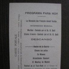 Cine: PROGRAMA CINE - PRIMERA GUERRA MUNDIAL -TARJETA POSTAL -1917 -VER FOTOS - (C-4.134). Lote 116376071