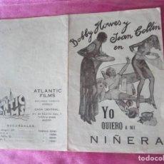 Cine: YO QUIERO A MI NIÑERA PROGRAMA DE CINE DOBLE 1932. Lote 116531659