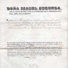 Cine: ISABEL II. CONCEDE GRADO DE CAPITÁN DE CABALLERÍA, FIRMA ORIGINAL FRANCISCO LERSUNDI HORMAECHEA 1853. Lote 116875539