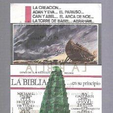 Cine: PROGRAMA DE CINE. LA BIBLIA... EN SU PRINCIPIO. CENTRAL CINEMA. VER. Lote 117098163