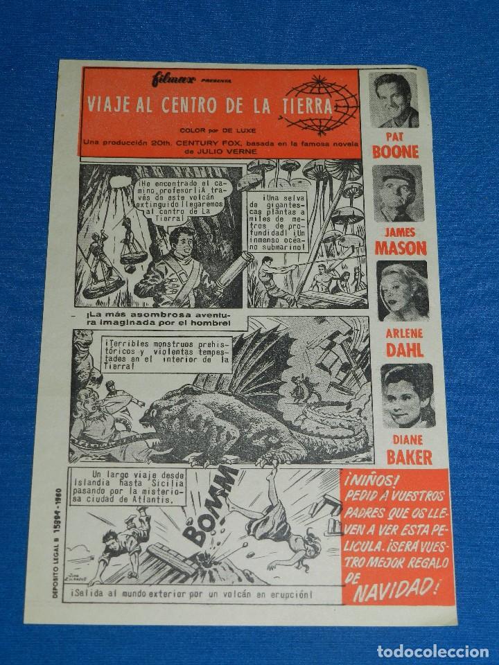 VIAJE AL CENTRO DE LA TIERRA , NOVELA DE JULIO VERNE 1960 , FILMAX , PAT BOONE , JAMES MASON (Cine - Folletos de Mano - Ciencia Ficción)