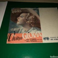 Cine: PROGRAMA DE CINE DOBLE. LA DIVINA GLORIA. AÑOS 30. Lote 117395272