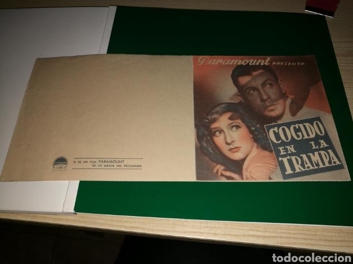 PROGRAMA DE CINE DOBLE. COGIDO EN LA TRAMPA. AÑOS 30 (Cine - Folletos de Mano - Bélicas)