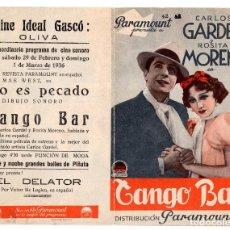 Cine: FOLLETO DE MANO.- TANGO BAR. CARLOS GARDEL. ROSITA MORENO. . Lote 117400191