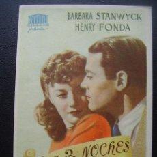 Cine: LAS 3 NOCHES DE EVA, BARBARA STANWYCK, HENRY FONDA. Lote 117417123