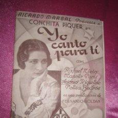 Cine: YO CANTO PARA TI CONCHITA PIQUER PROGRAMA DE CINE. Lote 117558387