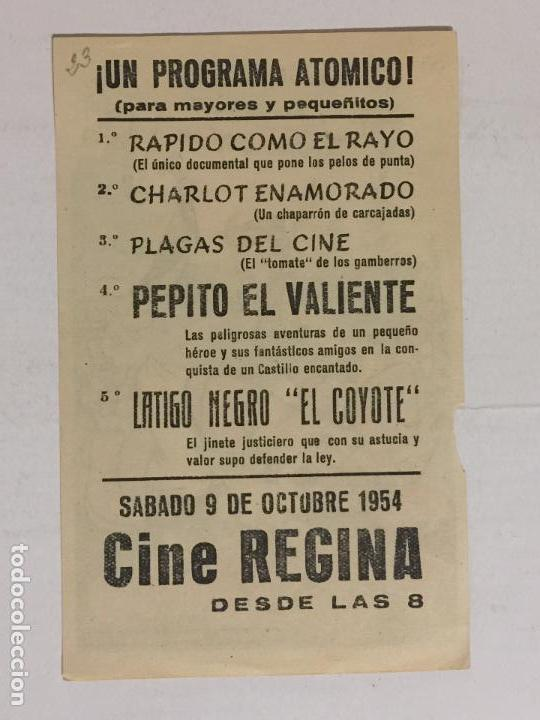 Cine: FOLLETO DE MANO PEPITO EL VALIENTE. PUBLICIDAD CINE REGINA. - Foto 2 - 118059991