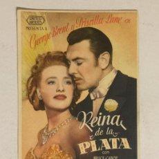 Cine: FOLLETO DE MANO REINA DE LA PLATA. SIN PUBLICIDAD.. Lote 118064395