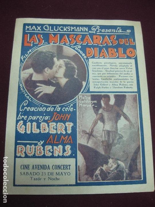 Cine: PROGRAMA DE CINE. RADIOMANIA - LAS MASCARAS DEL DIABLO. CINE AVENIDA CONCERT. MONTEVIDEO. - Foto 2 - 118352651