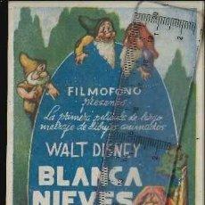 Cine: BLANCANIEVES Y LOS SIETE ENANITOS PROGRAMA SENCILLO FILMOFONO WALT DISNEY. Lote 118423187