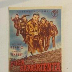 Cine: PROGRAMA DE CINE FUGA SANGRIENTA. SIN PUBLICIDAD.. Lote 118494943